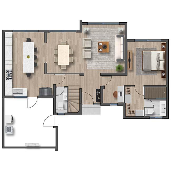 Primer piso de Casa Cordillera II – Chileno