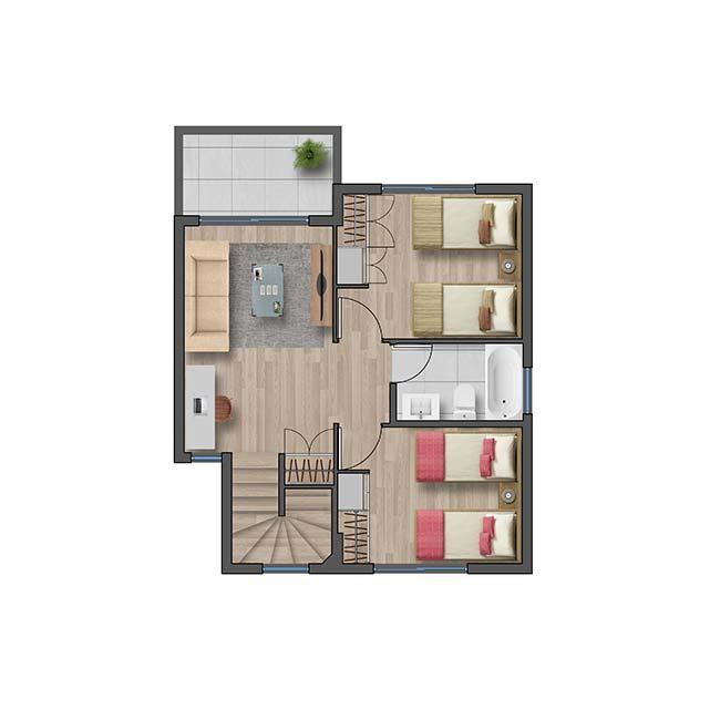 Segundo piso de Casa Cordillera II – Chilena