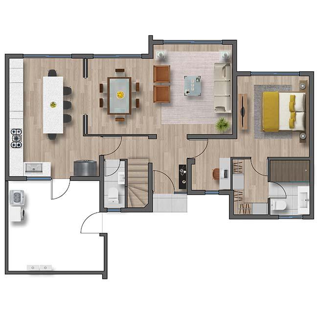 Primer piso de Casa Cordillera II – Mediterráneo