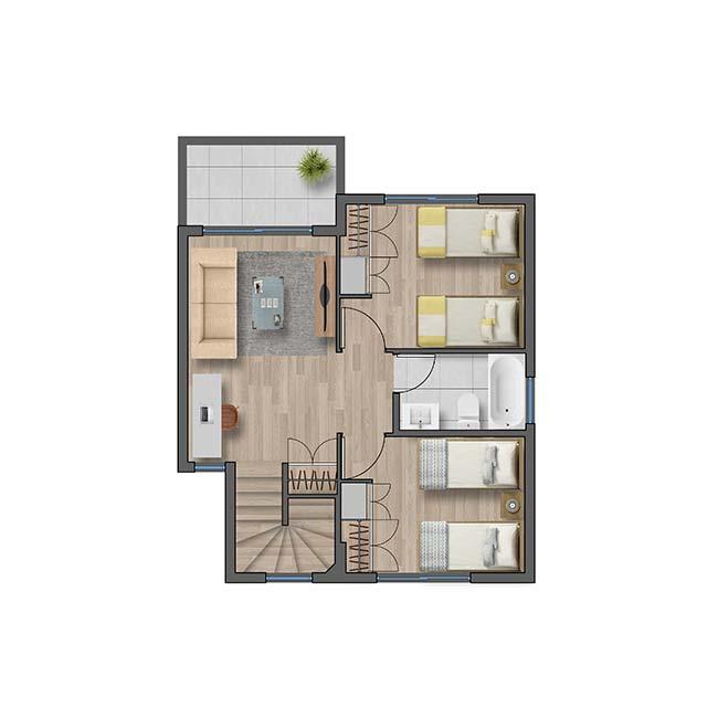 Segundo piso de Casa Cordillera II – Mediterráneo
