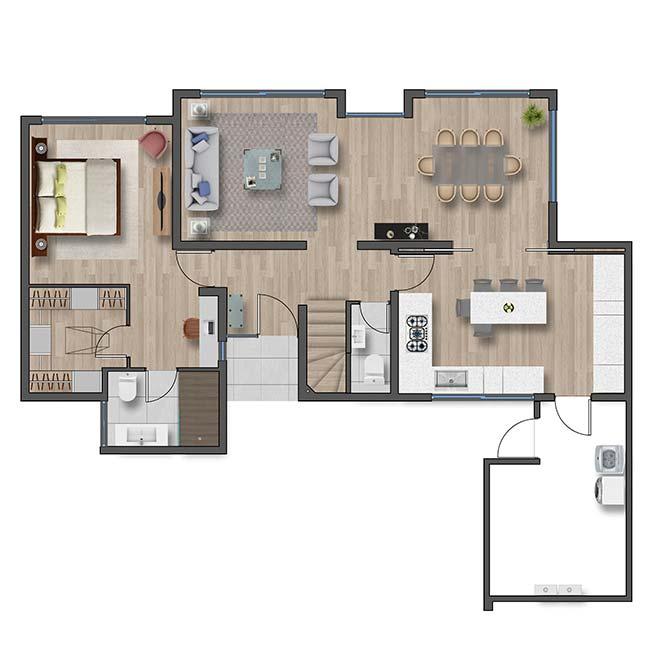 Primer piso de Casa Valle II – Chileno