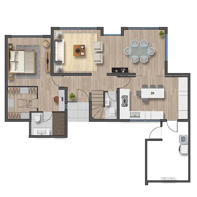 Primer piso de Casa Valle II – Mediterráneo