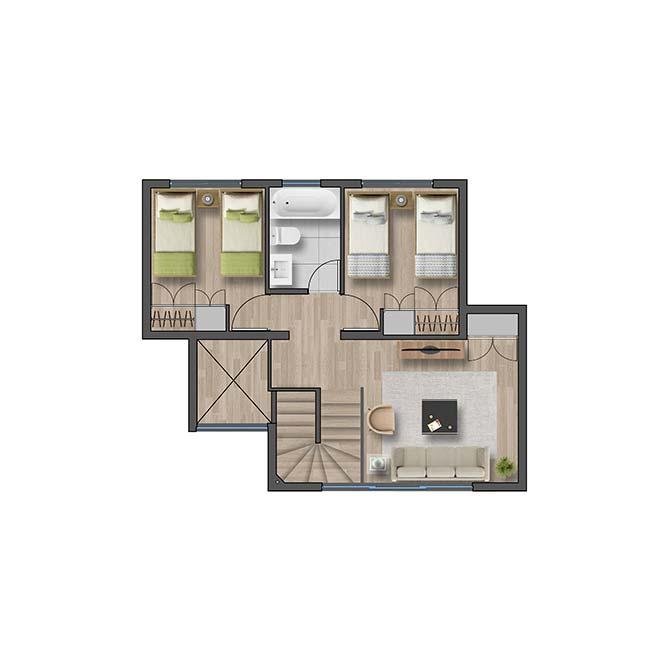 Segundo piso de Casa Valle II – Mediterránea