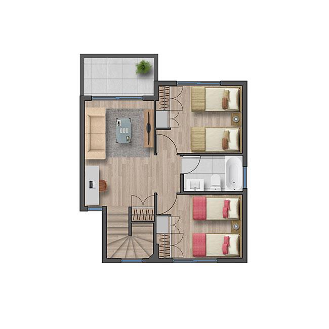 Segundo piso de Casa Cordillera III – Chilena