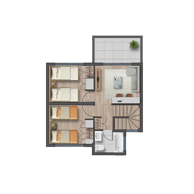 Segundo piso de Casa Ribera III – Mediterránea