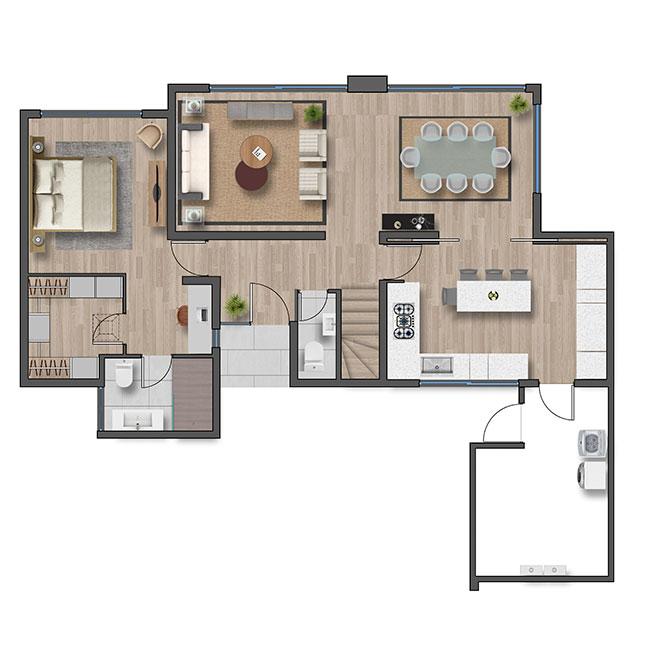 Primer piso de Casa Valle III – Chilena
