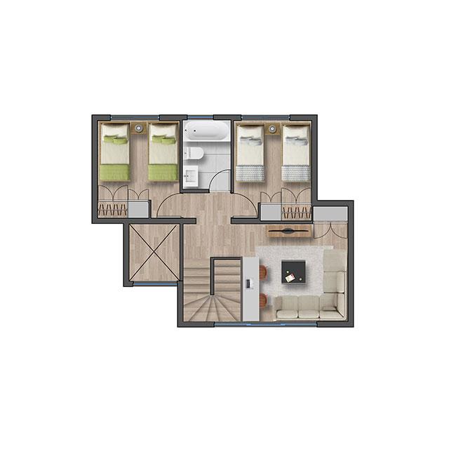 Segundo piso de Casa Valle III – Chilena